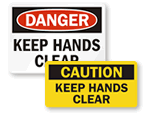 Keep Hands Clear Hazard Labels