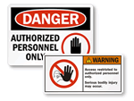 Authorized Personnel Only Labels