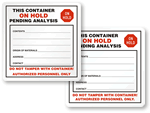 Container / Drum on Hold Labels