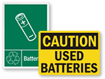 Battery Recycling & Waste Battery Signs
