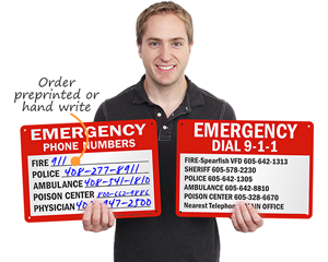 Emergency phone number signs