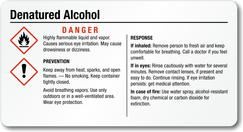 Denatured Alcohol Ghs Labels
