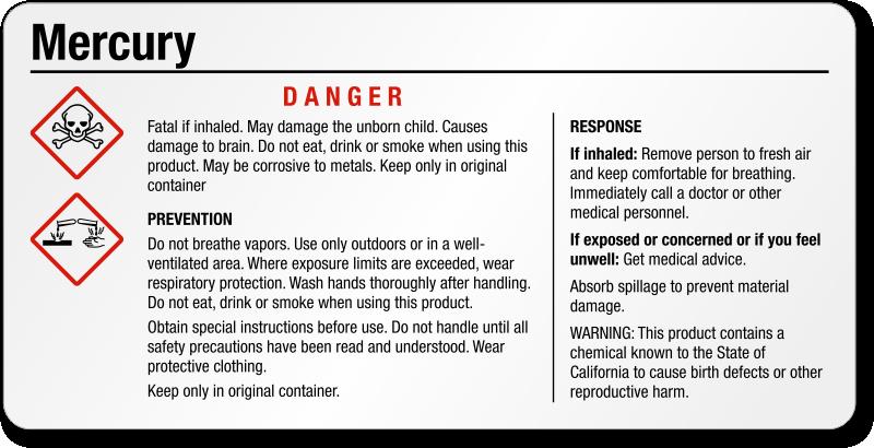 Danger Mercury Small Ghs Chemical Label Sku Ghs 026 D