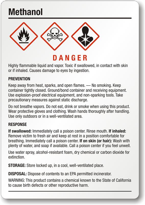 Methanol Danger Ghs Chemical Label Medium Sku Ghs 013 B
