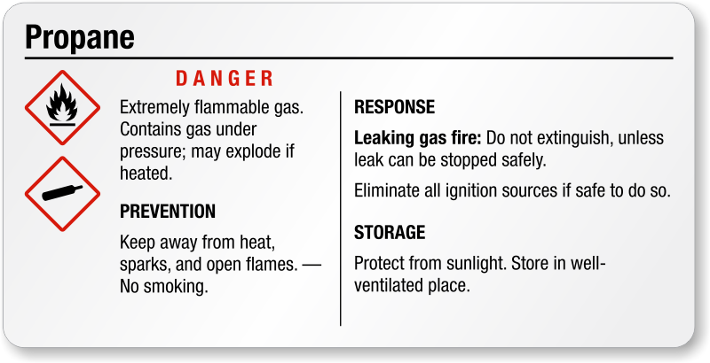 Propane Danger Small Ghs Chemical Label Free Shipping