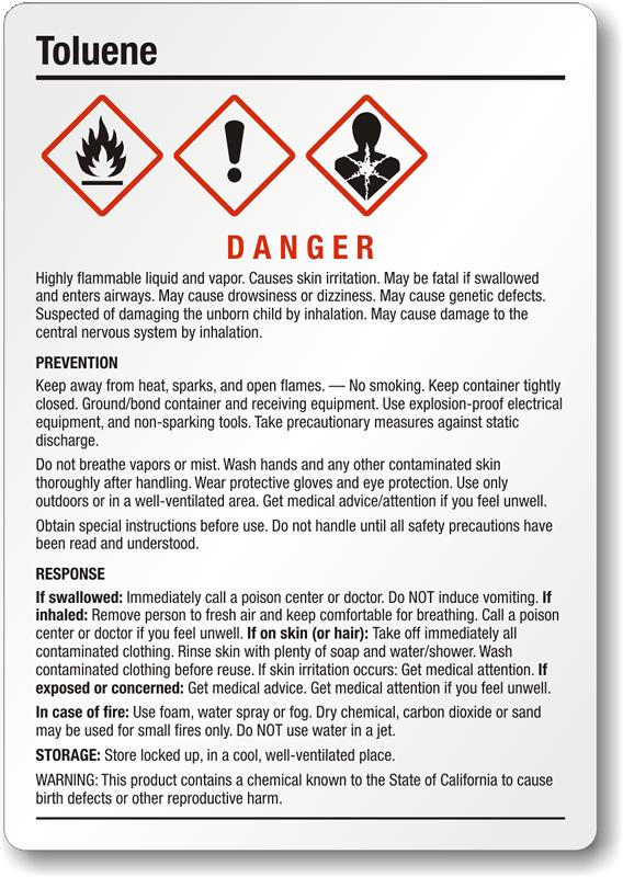 Toluene Medium Ghs Chemical Label Sku Ghs 024 B
