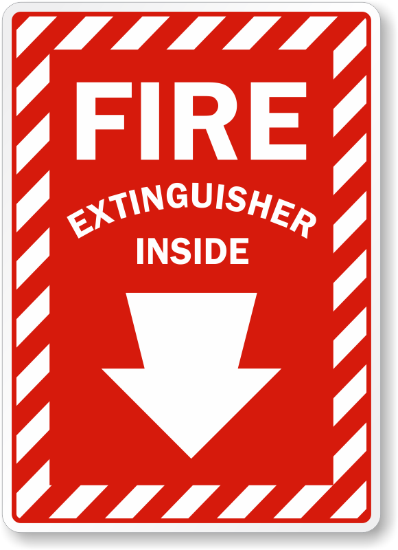 Fire Extinguisher Inside Arrow Sign Sku K 0101