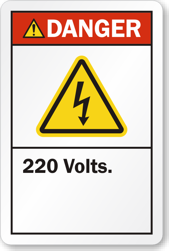 220 Volts Ansi Danger Label With Bolt Symbol Made In Usa
