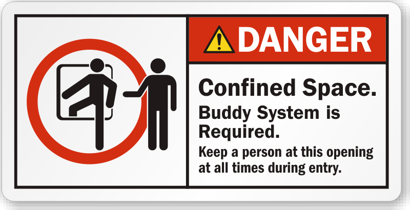 Confined Space Buddy System Is Required Danger Label, SKU: LB-2382