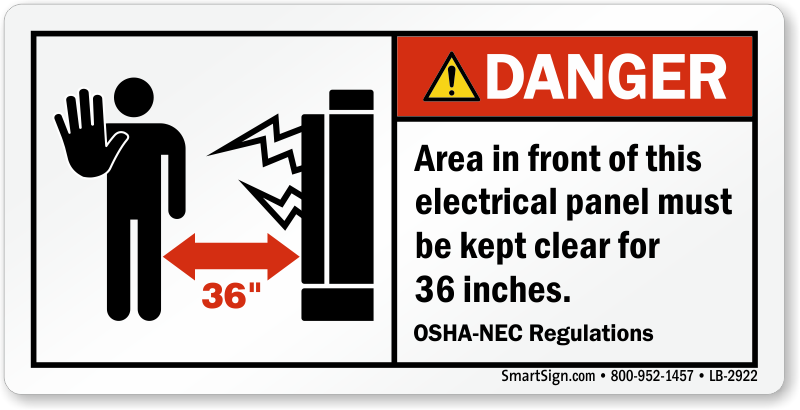 Danger electrical panel area keep clear label sku lb 2922 for Electrical panel tags
