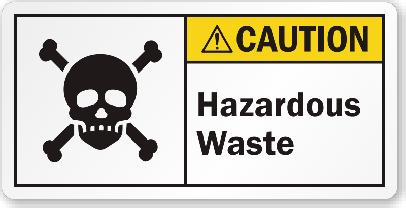 Hazardous Waste ANSI Caution Label with Poison Symbol, SKU: LB-2313