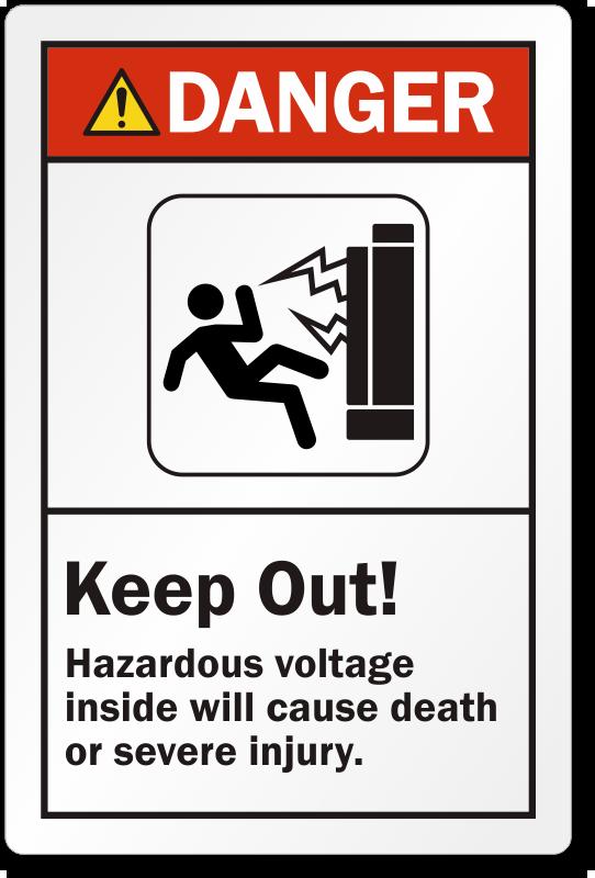 Keep Out Hazardous Voltage Inside Ansi Danger Label Sku