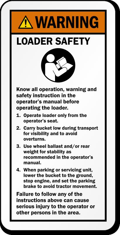 Backhoe And Excavator Warning Labels Loader Safety