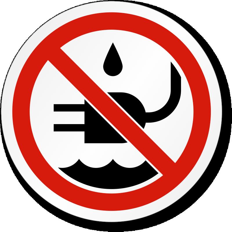 No Liquid Near Plug Symbol Iso Prohibition Label Sku