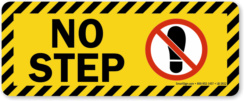 1 sticker 2 steps - No Step Label Bold Yellow Tripping Hazard Warning Sku