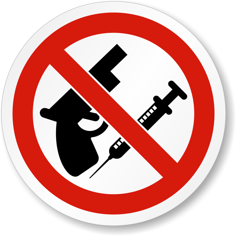 No Weapons And Drugs Symbol Label Iso Prohibition Labels