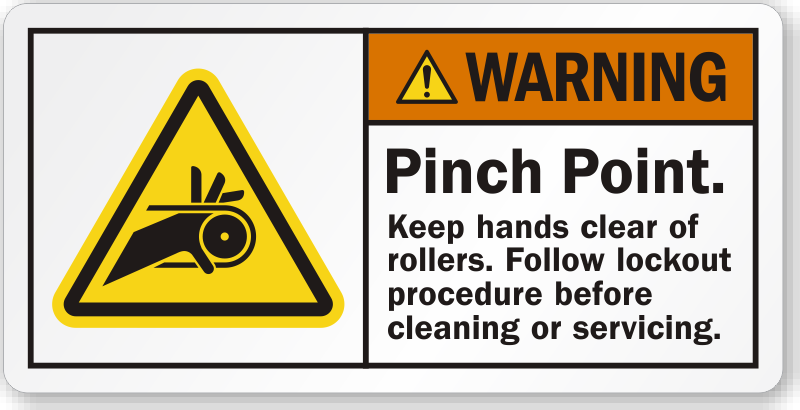 Pinch Point Keep Hands Clear Of Rollers Label Best