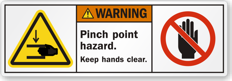 Pinch Point Hazard Keep Hands Clear Ansi Warning Label