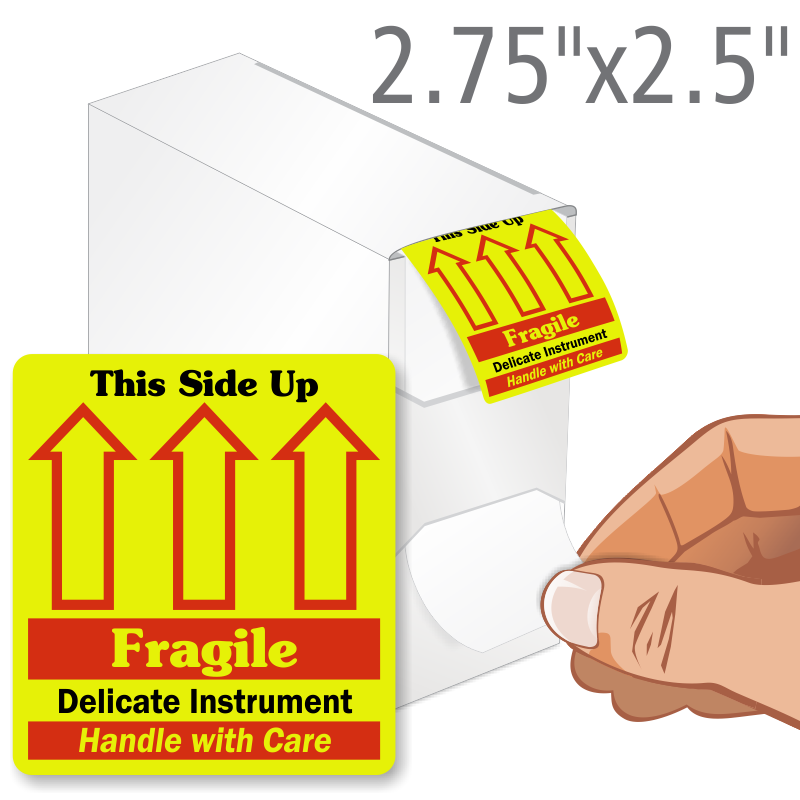Grab A Label In Dispenser Box: Delicate This Side Up Fragile Grab-a-Label Dispenser Box