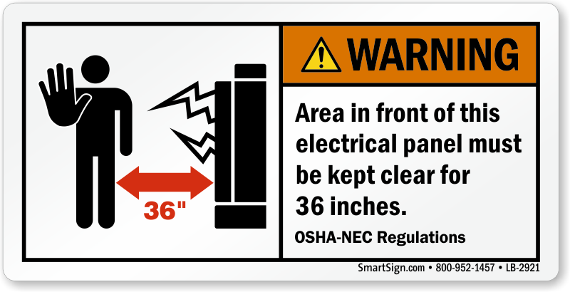 warning electrical panel area keep clear label sku lb 2921 With electrical panel warning labels