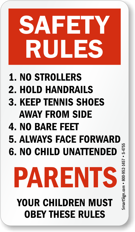 Safety Rules Signs Escalator Plate Signs Sku S 4755