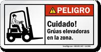 Cuidado, Gruas Elevadoras En La Zona Spanish Label