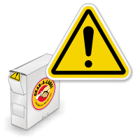 ISO Warning Exclamation Symbol Grab-a-Labels in Dispenser Box