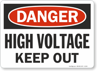 High voltage out danger sign