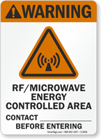 Warning (ANSI) RF Microwave Energy Controlled Sign