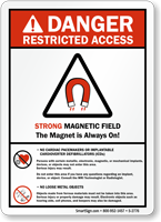 Danger (ANSI) Strong Magnetic Field No Pacemakers Sign