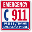 Emergency 911 Press Button On Emergency Phone Sign