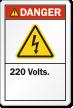 220 Volts ANSI Danger Label