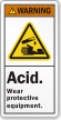Acid Wear Protective Equipment ANSI Warning Label