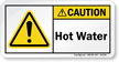 Hot Water With Exclamation Mark Symbol Label