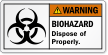 Biohazard Dispose Of Properly ANSI Warning Label