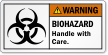 Biohazard Handle With Care ANSI Warning Label