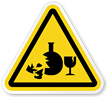 Broken Glass Hazard Symbol, ISO Triangle Warning Sticker