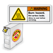 ISO Burn Hazard, Hot Surface Grab-a-Labels Dispenser Box