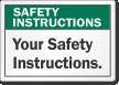 Custom Safety Instruction Label