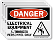 Electrical Equipment, Authorized Personnel Only Label With Graphic