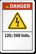 120/208 Volts ANSI Danger Label