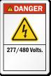 277/480 Volts ANSI Danger Label