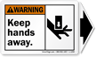 Keep Hands Away Warning  Label, Detachable Arrow