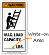 Max. Load Capacity (Write-On Area) ANSI Warning Label