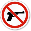 No Guns Permitted ISO Prohibition Safety Symbol Label