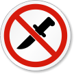 No Knife Allowed ISO Prohibition Safety Symbol Label