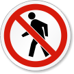 No Pedestrians ISO Prohibition Safety Symbol Label