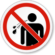 No Spitting ISO Prohibition Safety Symbol Label