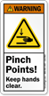 Pinch Points Keep Hands Clear Warning Label