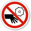 Rotating Blade Keep Hands Clear ISO Symbol Label